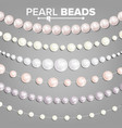 pearl beads set 3d realistic shiny white vector image vector image