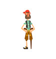 pirate character with a wooden leg and revolvers vector image vector image