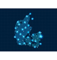 pixel Denmark map with spot lights vector image vector image