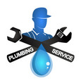 plumber and tool symbol vector image vector image