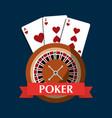 Poker roulette cards gambling risk banner vector image
