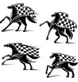 Racing sport emblems Running horses with flags vector image vector image