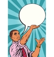 Retro black businessman cartoon bubble vector image vector image