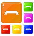 ribbon icons set color vector image vector image