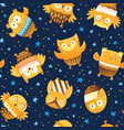 seamless pattern with cartoon owls in the vector image vector image