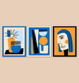 set abstract art compositions geometric woman vector image