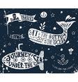 set nautical elements on blackboard vector image