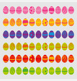 set of easter eggs isolated on white background vector image
