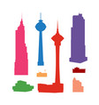 silhouettes high-rise skyscrapers vector image vector image