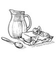 sketch hand drawn jug with milk and butter on vector image vector image