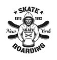 skull in hoodie and two skate decks emblem vector image vector image