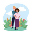 smile woman and man couple pregnant vector image vector image