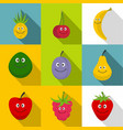 smiling fruit icons set flat style vector image