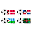 Soccer Ball with Denmark Dominican Djibouti Flag vector image vector image