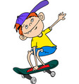 teen boy skateboarder on skateboard vector image