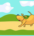 walking dog landscape vector image