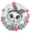white kitten with a floral wreath vector image vector image
