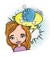 woman with moon and speech bubble pop art vector image vector image