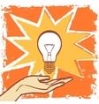 Light bulb in pop art hipster vintage style vector image