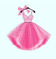 pink party prom dress with bow vector image