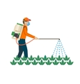 Agricultural chemicals are spayed by farmer over vector image vector image