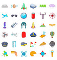 airport terminal icons set cartoon style vector image vector image