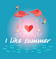 background with flamingos and a slogan about vector image
