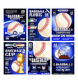 baseball playground game flyers posters set vector image vector image