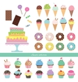 Birthday set with different sweets vector image vector image