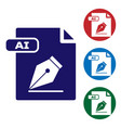 blue ai file document download ai button icon vector image vector image