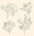 bouquet set made of continuous lines flowers vector image vector image