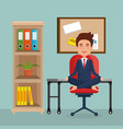 businessman practicing yoga in office chair vector image vector image
