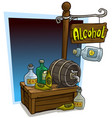 cartoon alcohol vendor booth market wooden stand vector image
