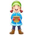 cartoon girl singing christ vector image vector image