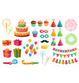 cartoon party kit rocket fireworks colorful vector image vector image