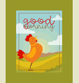 chicken rooster poster banner vector image vector image