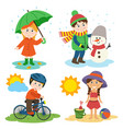 children and four seasons vector image