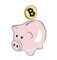 coin bitcoin in the piggy bank vector image