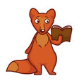 curious fox with ginger fur and rhick tail reads vector image