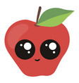 cute apple with big eyes on white background vector image vector image