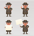 cute detective spy investigation coat magnifying vector image vector image