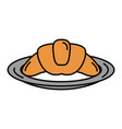 delicious croissant bread icon vector image