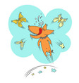dog and butterflies vector image