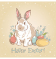 Easter bunny retro card with hand drawn flowers vector image vector image
