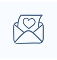 Envelope mail with heart sketch icon vector image vector image