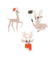 flat christmas reindeer isolated set vector image vector image