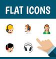 flat icon hotline set of telemarketing secretary vector image vector image