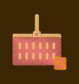 flat shading style icon supermarket basket vector image