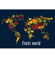 Fruits world map placard background vector image