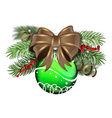 Green Christmas ball with brown bow vector image vector image